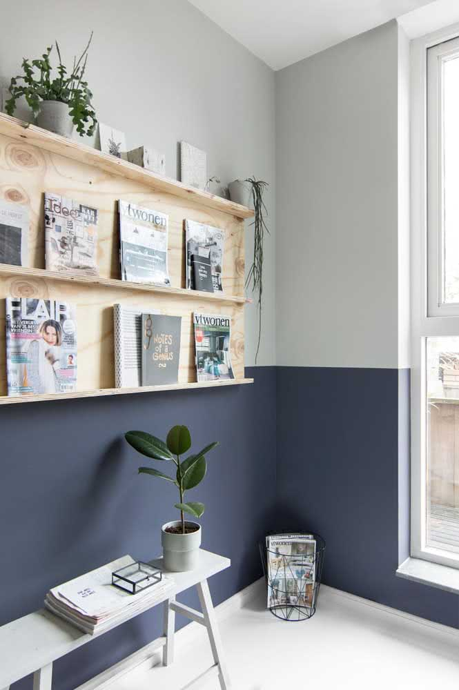 Meia parede azul e cinza: neutralidade sem perder a cor