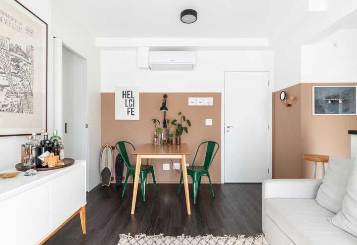 Valoriza ambientes integrados com a meia parede pintada