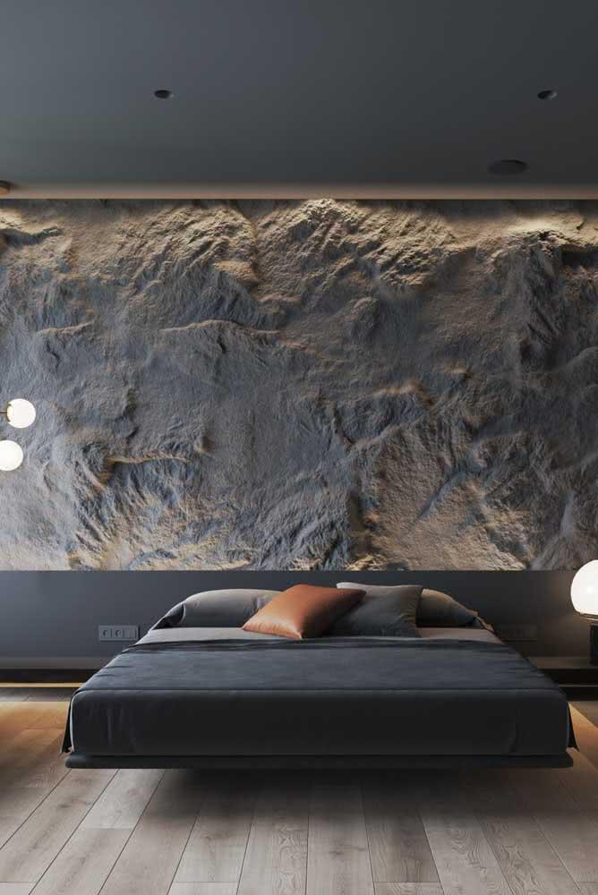 Quarto sóbrio, sofisticado e moderno com cama flutuante. Um luxo só!