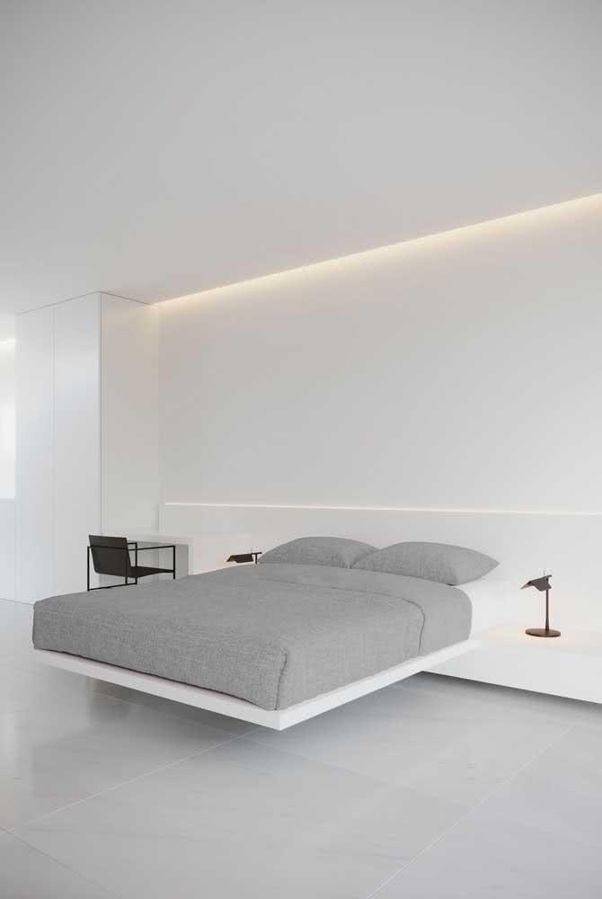 A cama flutuante é a cara dos quartos modernos e minimalistas