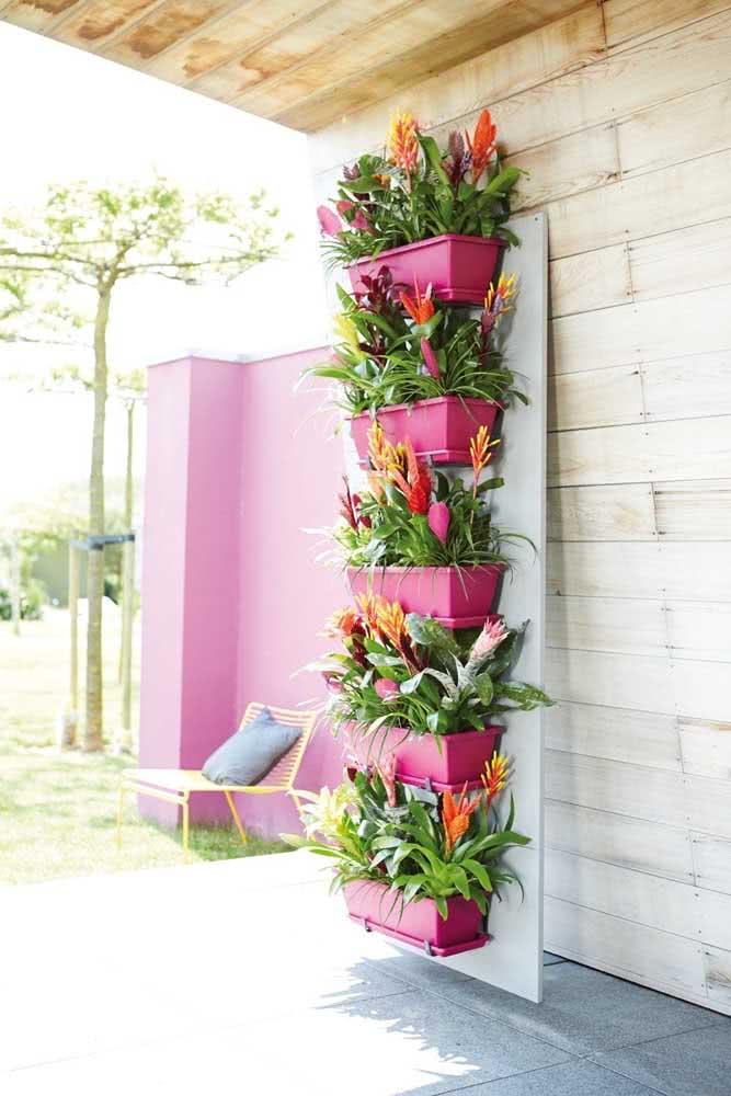 Floreira de parede repleta de bromélias coloridas para alegrar o seu quintal