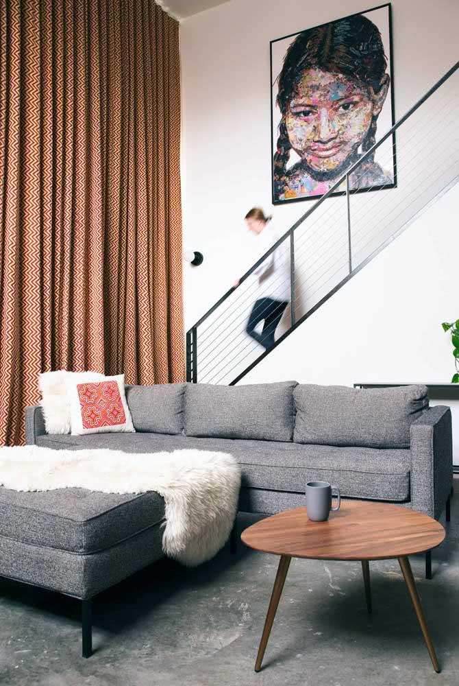 Puff combinando com o sofá