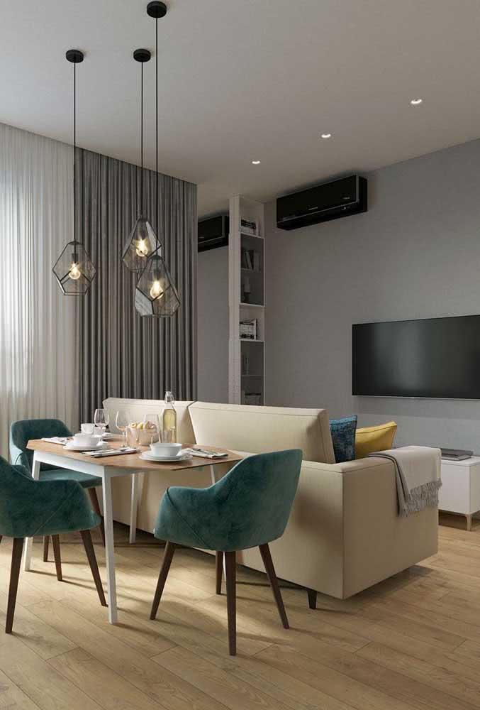 O sofá para sala pequena pode funcionar muito bem também como divisória de ambiente