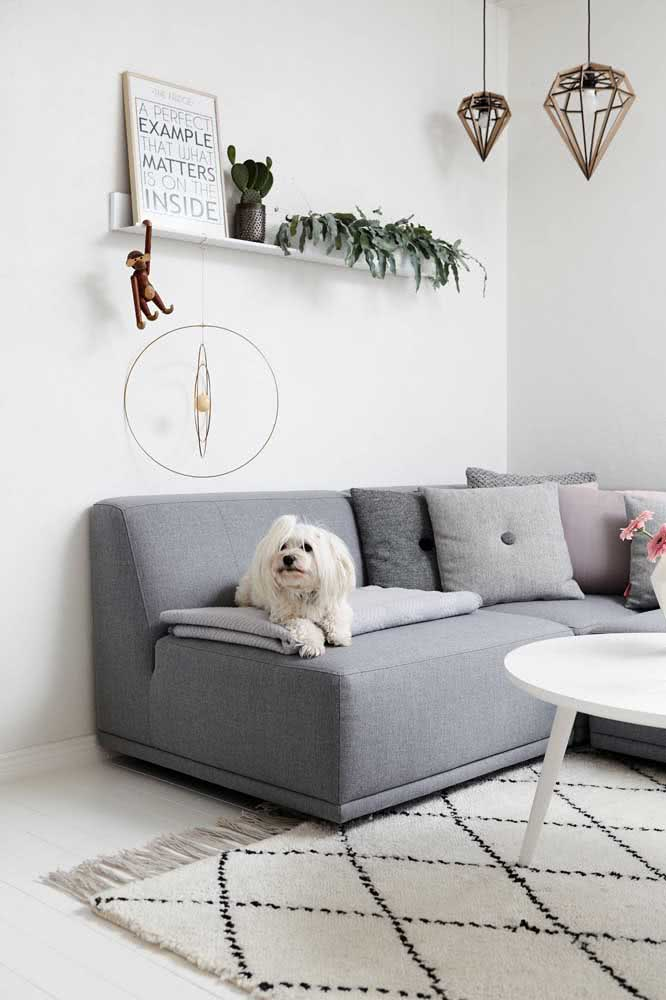 Sofá cinza para a sala pequena em estilo escandinavo