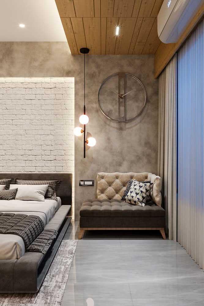 Cinza chumbo para um quarto rústico moderno