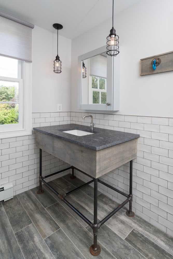 Bancada de granito móvel para o banheiro