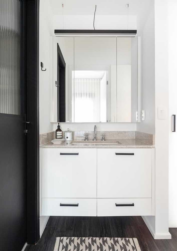 Bancada para banheiro de granito simples, bonita e funcional