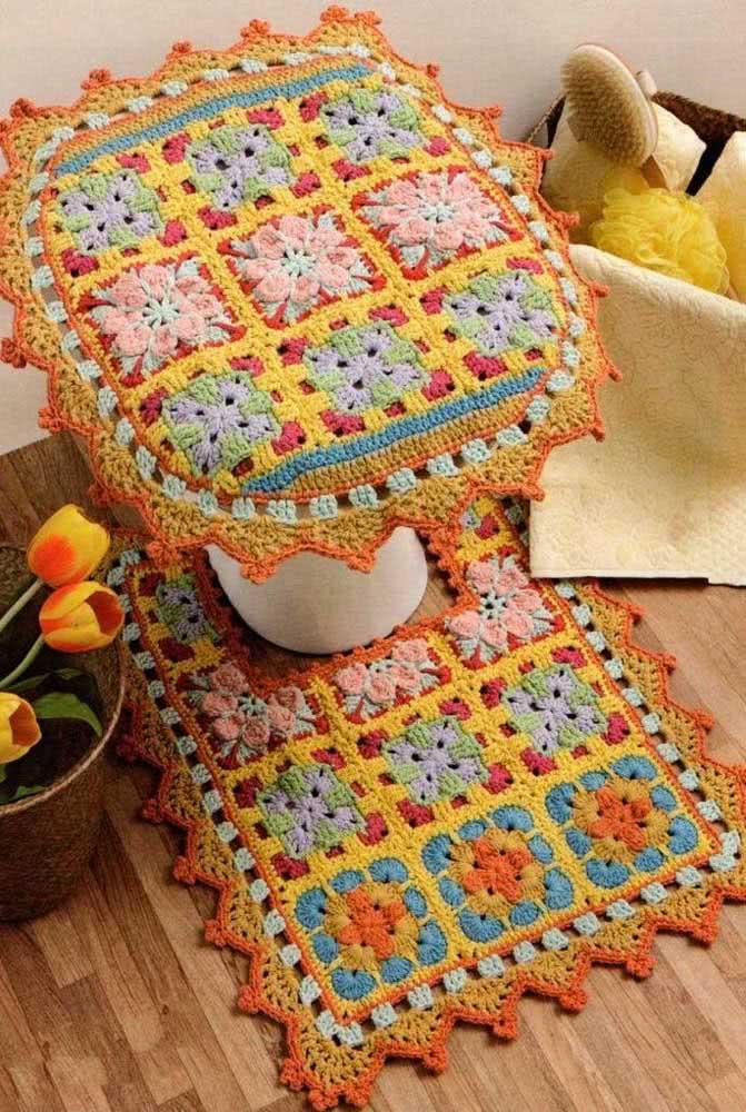 Jogo de banheiro de barbante com duas peças e visual de patchwork