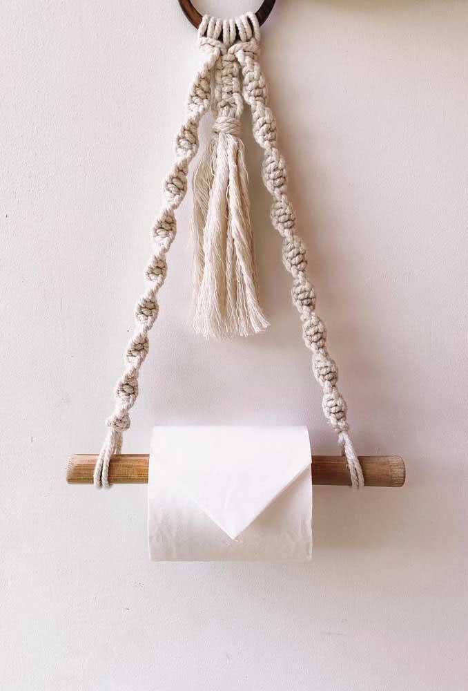 O porta papel higiênico de barbante mais simples e bonito que você já viu!