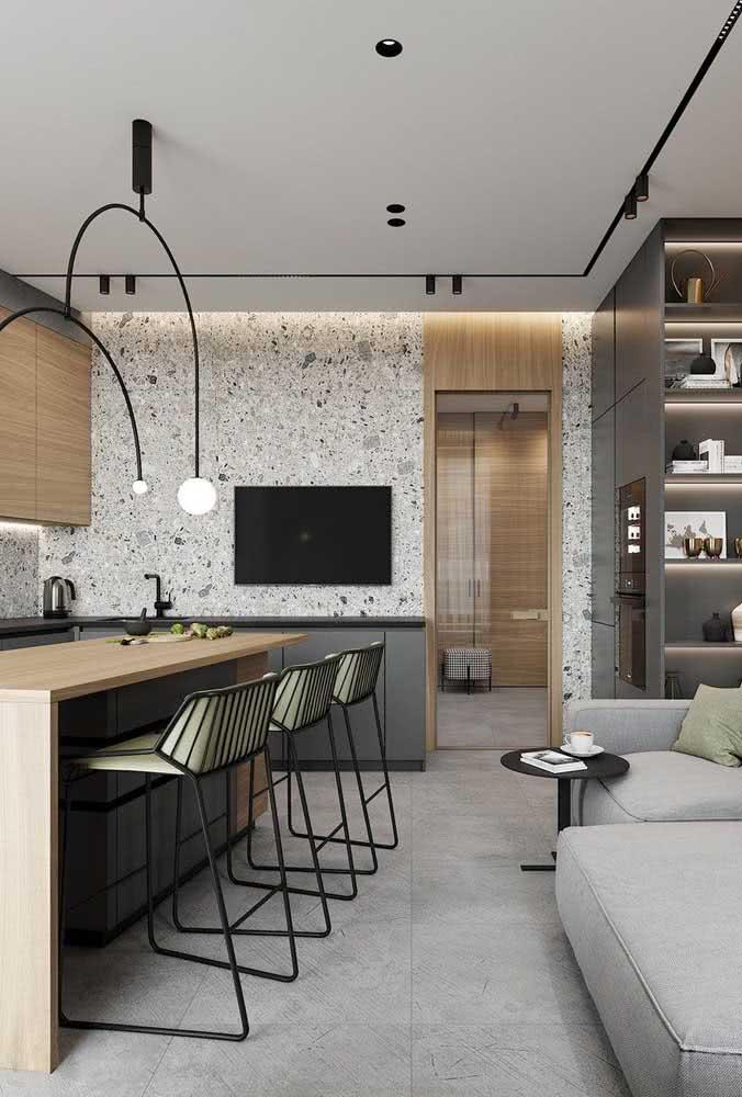 Lustre moderno para a bancada da cozinha com formato em arco