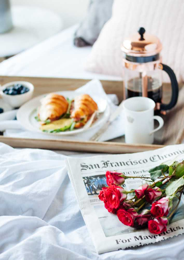 Café da manhã na cama simples, mas super bem recebido!
