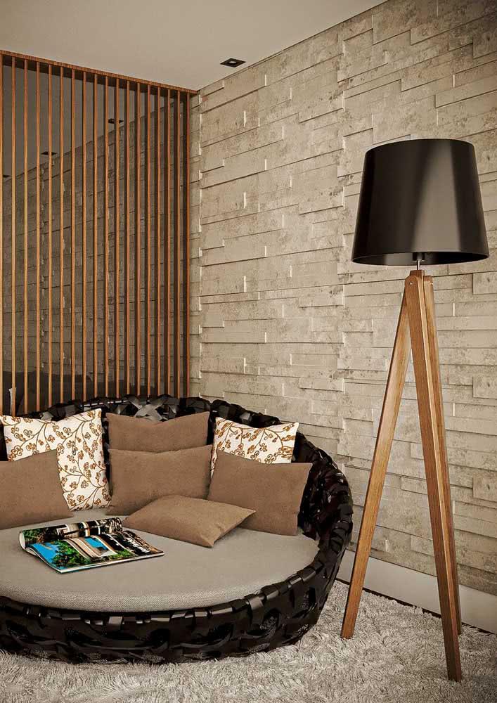 Textura de parede com pedra canjiquinha para a área externa na varanda.