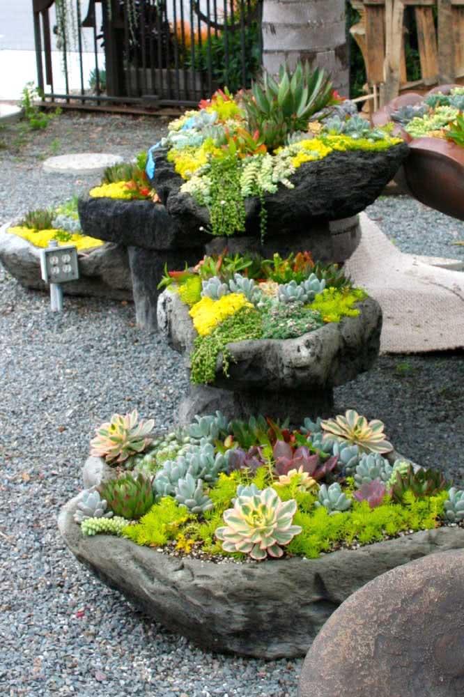Vasos e recipientes rústicos são a cara do jardim de suculentas