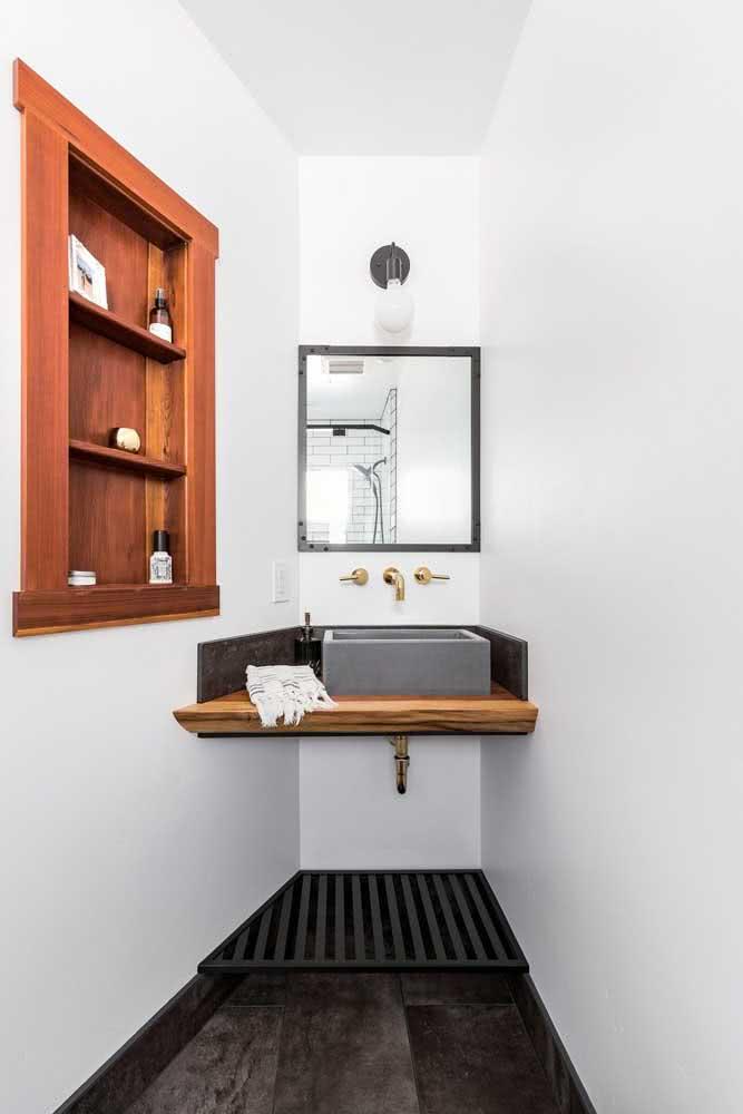 Banheiro pequeno com detalhes amadeirados: para todos os gostos e tamanhos!