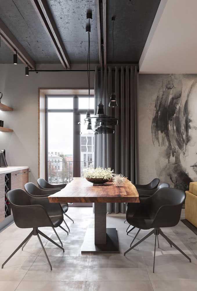 O cinza também fica perfeito com a mesa industrial