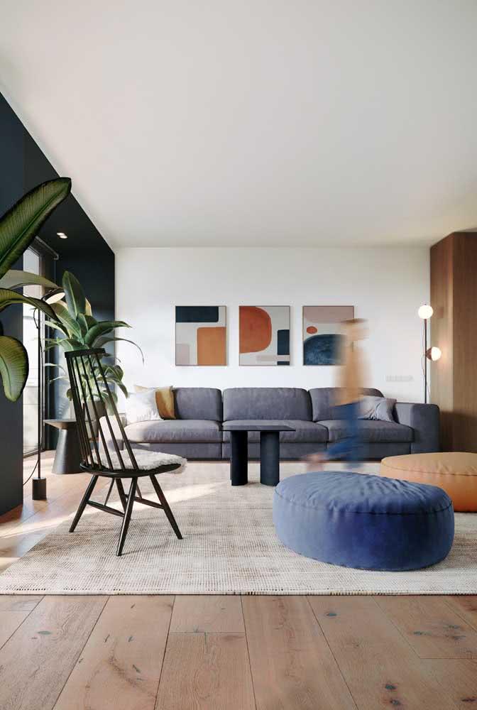 Composição de três quadros modernos para sala
