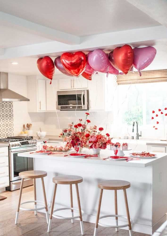 Balões e flores combinando