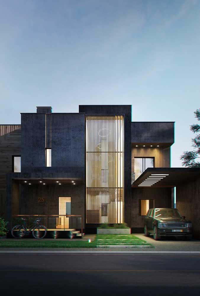Fachada de casa moderna com pé direito alto