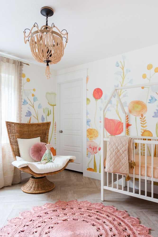 Escolha uma das cores presentes no quarto para fazer o tapete