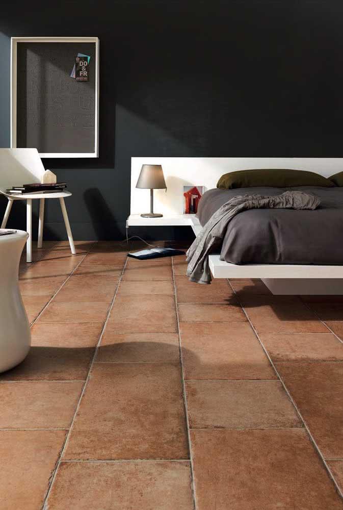 Cerâmicas rústicas para um quarto moderno