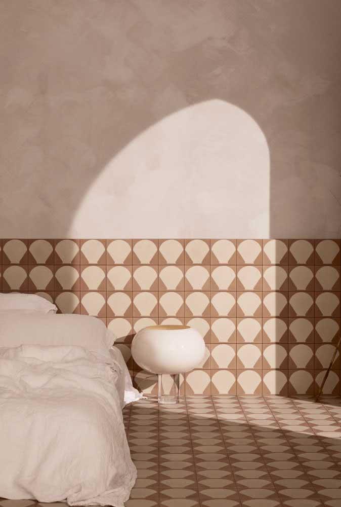 Todo o destaque para ela: a cerâmica do quarto!