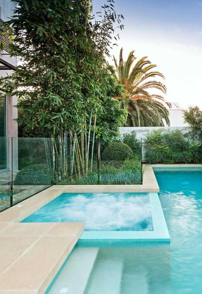 O projeto paisagístico valoriza e completa a área da piscina com hidro