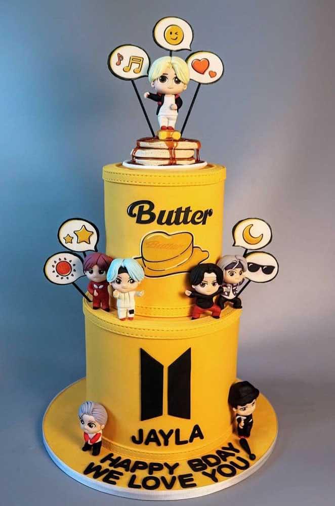 Bolo BTS com tema da música Butter