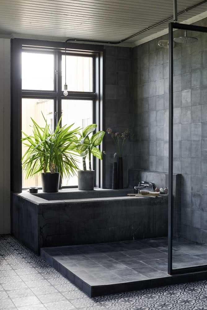 Ardósia preta para a área da banheira