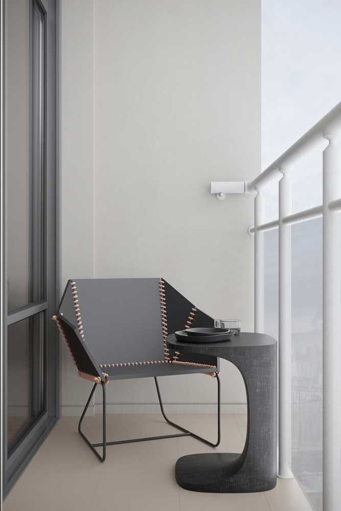 Varanda com móveis modernos e minimalistas