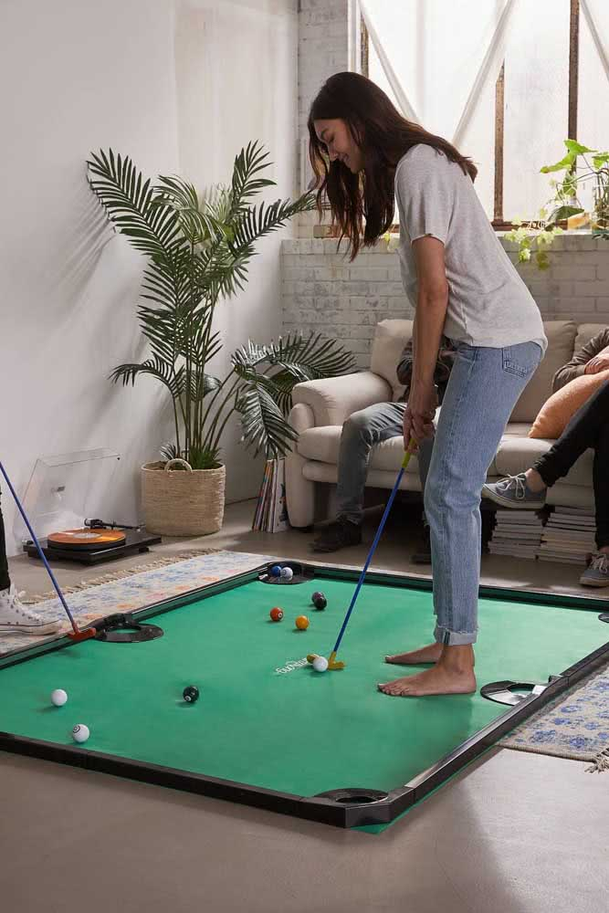 Mini golfe para brincar em casa