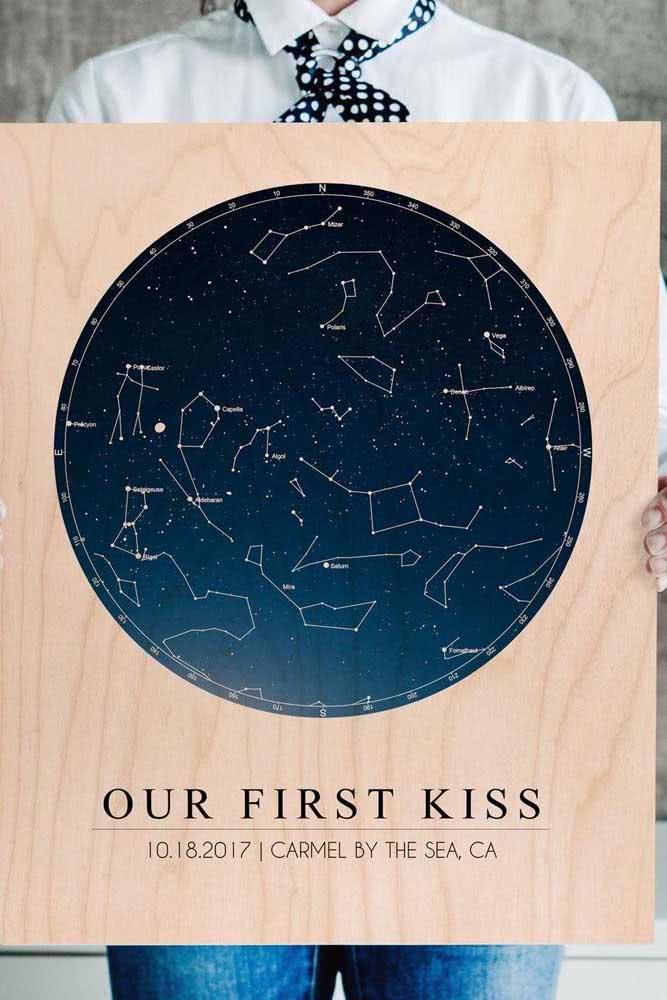 Presente para o dia dos namorados para homem: mapa do céu em homenagem ao primeiro beijo