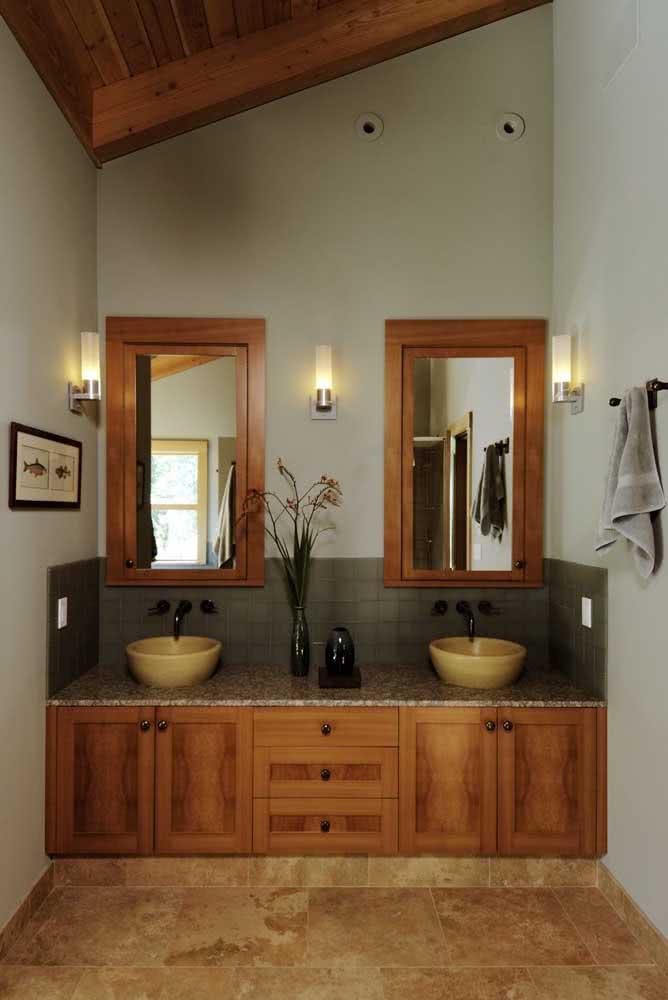 Banheiro rústico com pia de granito