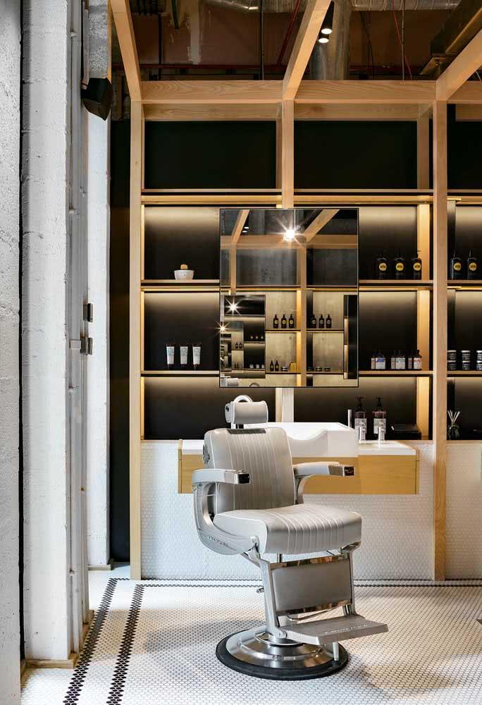 Poucos elementos para a decoração moderna da barbearia