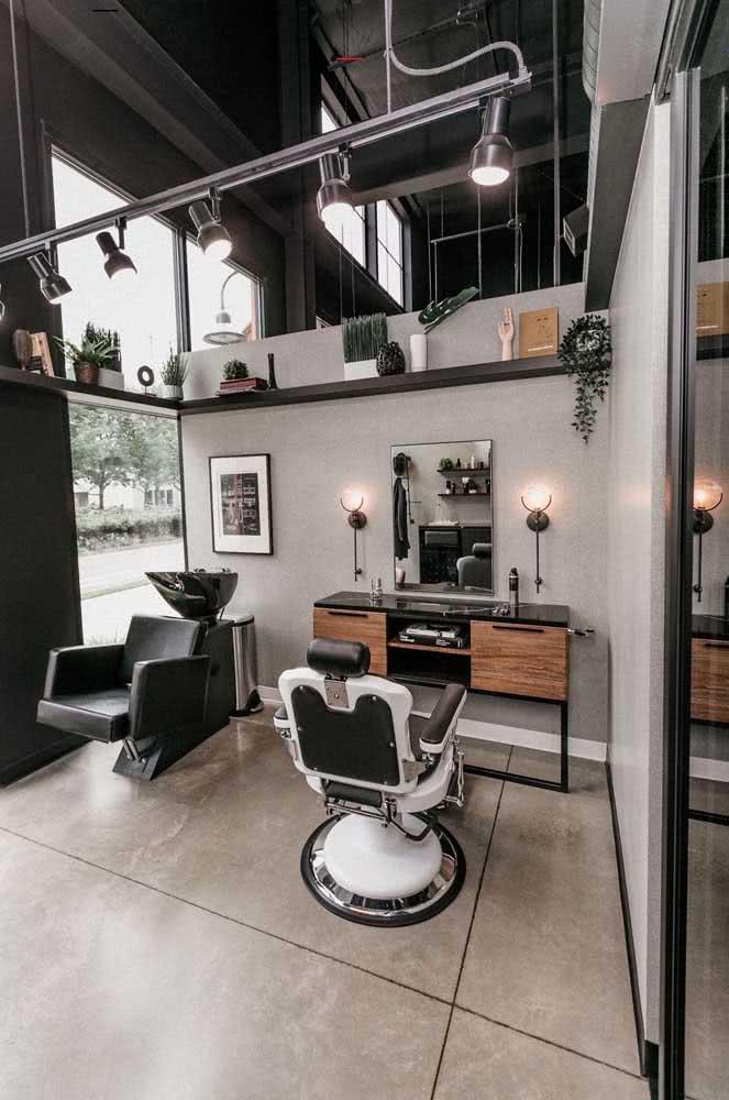 Decoração de barbearia industrial e moderna
