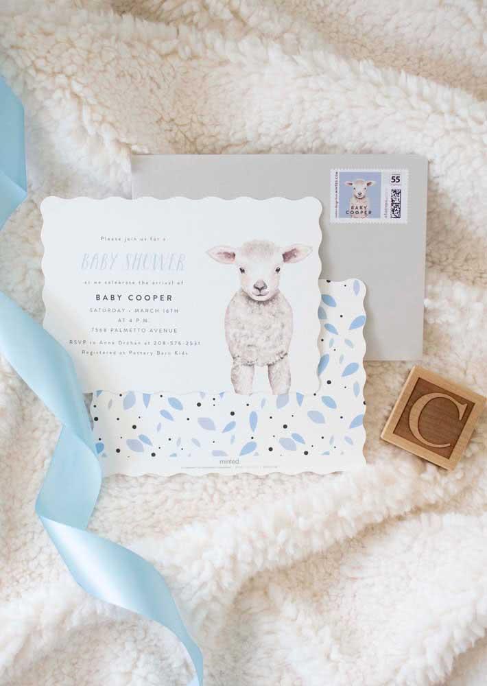 Tema ovelhinha para o seu convite de chá de bebê perfeito.