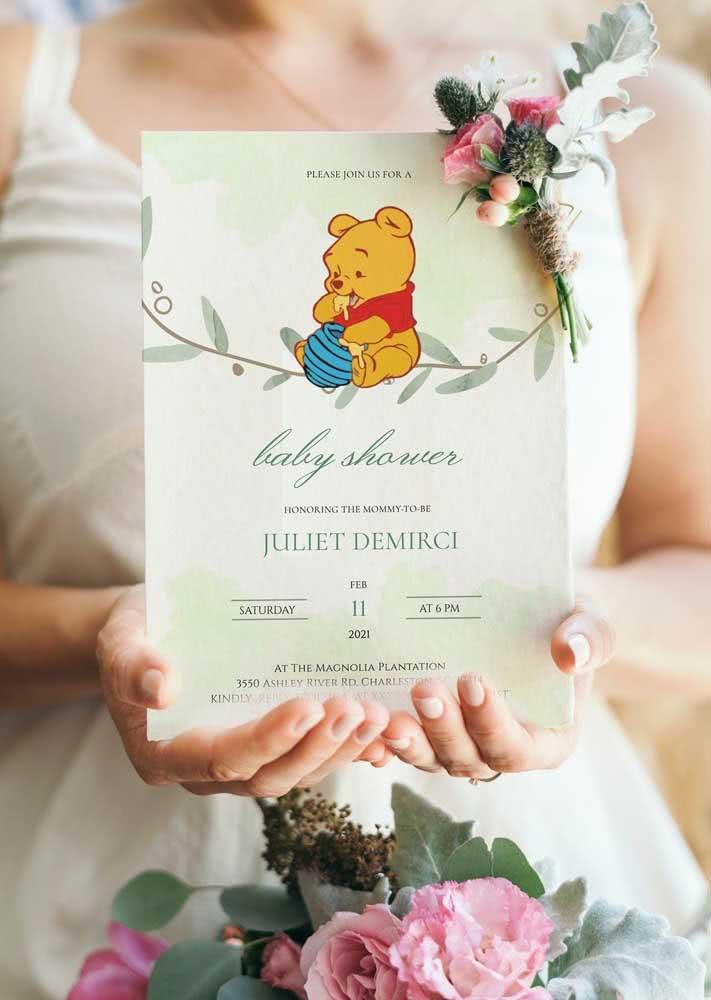 Adocique o seu convite de chá de bebê com o personagem Ursinho Pooh