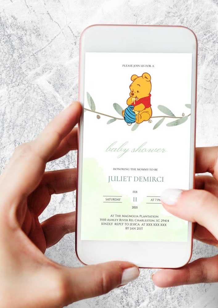 Para quem dispensar o convite em papel ou até mesmo mandar em conjunto. Divulgue a arte por e-mail para todos os seus convidados.