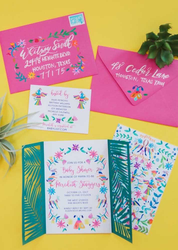 Convite super charmoso no estilo tropical para você se inspirar a fazer uma festa super divertida.