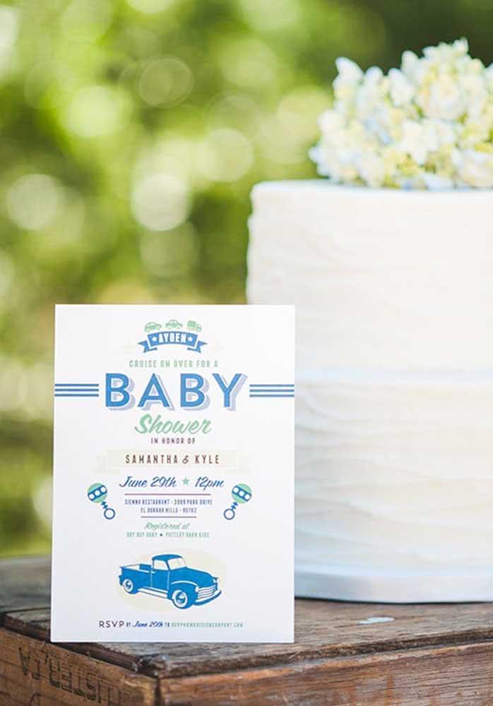 Convite com tema carros para um chá de bebê para menino.