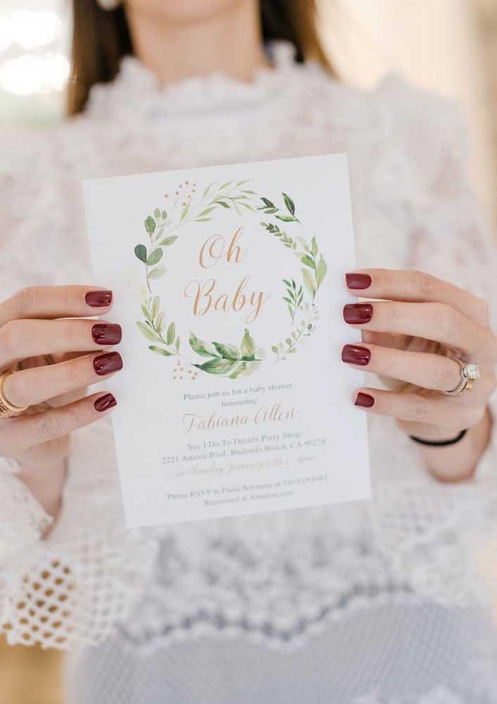 Desenhos de folhas em convite de chá de bebê unissex.