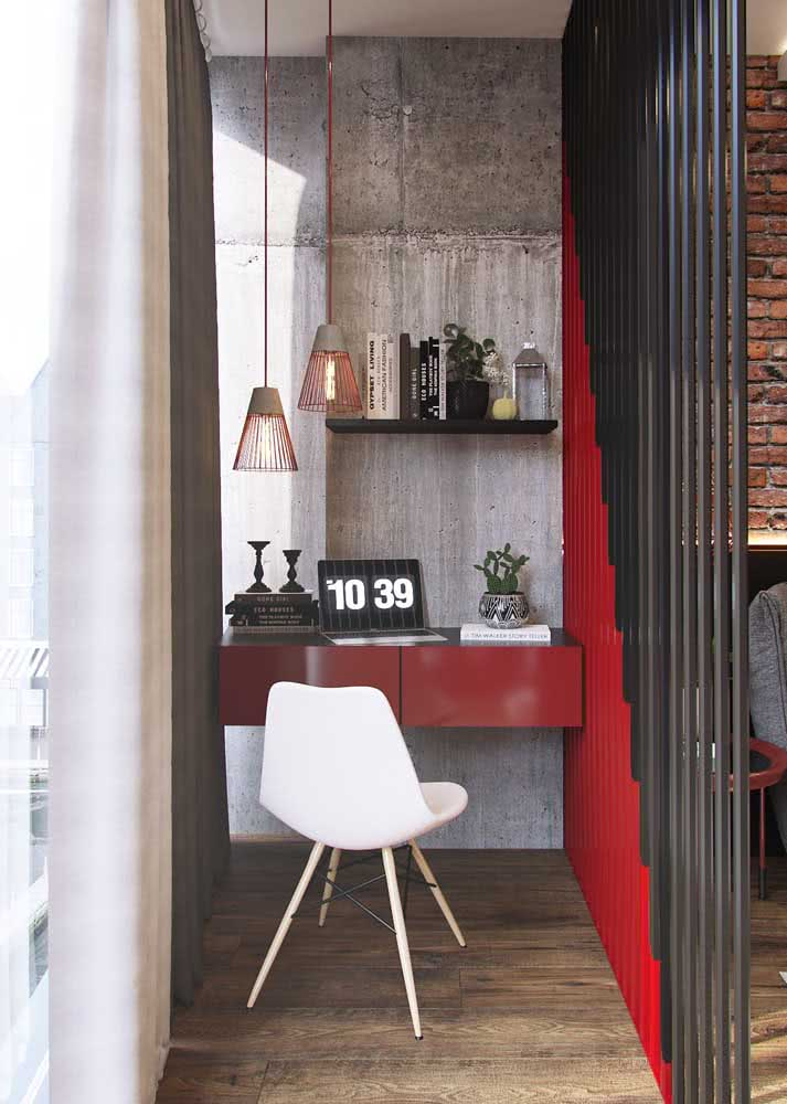 Espaço do home office em projeto com concreto aparente.
