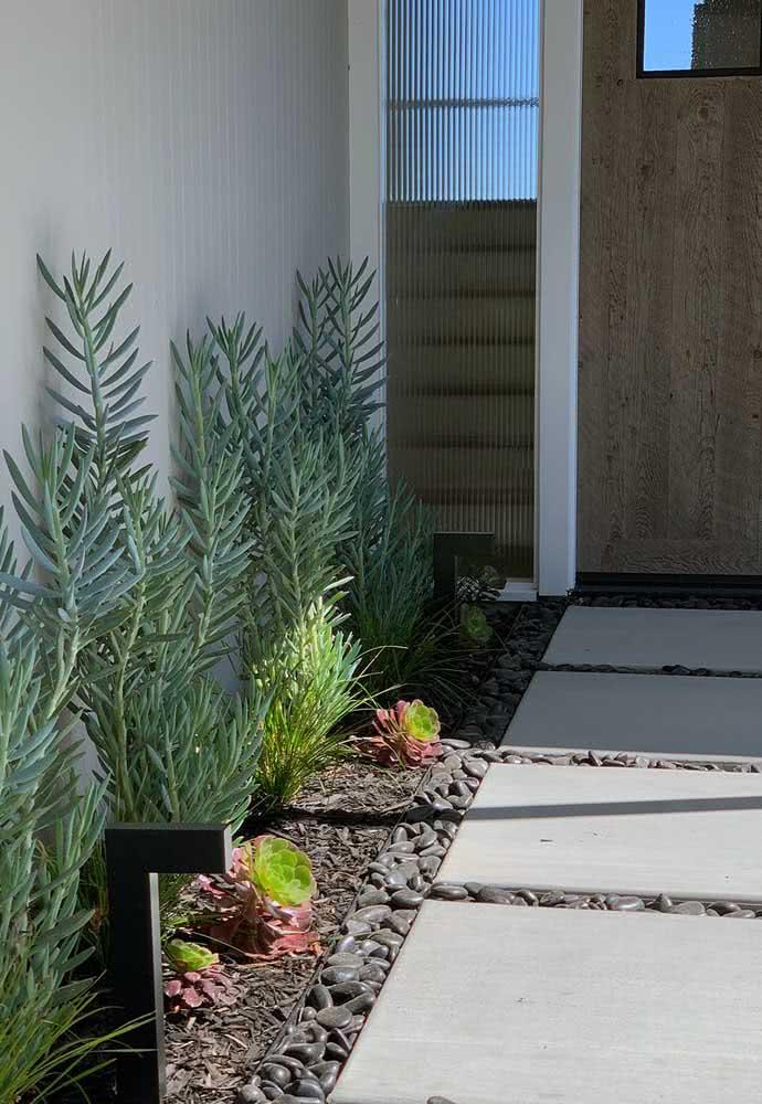 Além do quintal, as pedras podem ser dispostas no caminho da entrada da casa.