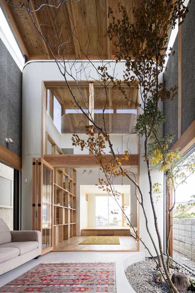 Ideia de jardim de inverno com pedras que invade a sala de estar da residência