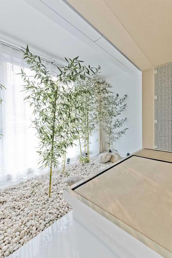 A dolomita é outra opção de pedra que pode compor o seu jardim. Aqui a escolha foi pelo o ambiente externo, que também tem a predominância do branco.