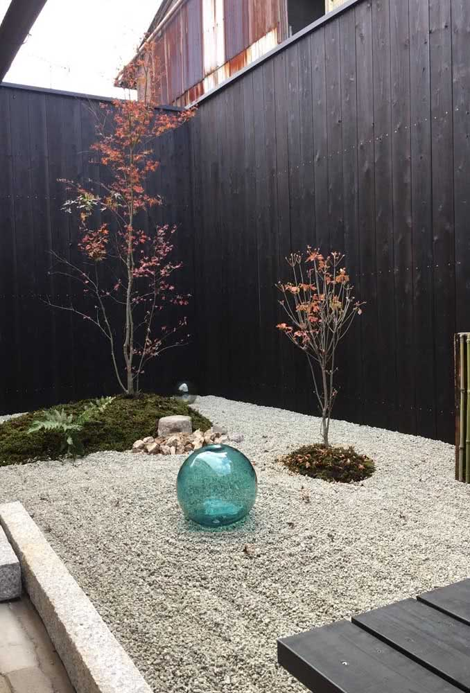 Jardim com pedras oriental e com a cara do inverno.