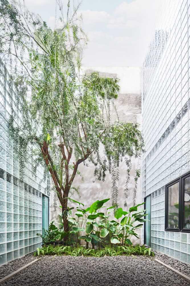 Em um espaço grande, você pode utilizar as pedras para delimitar apenas um espaço para cuidar do jardim.