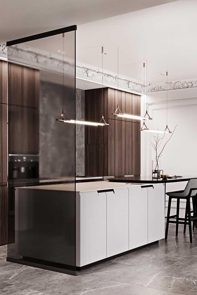 Divisória de vidro fumê para a cozinha integrada