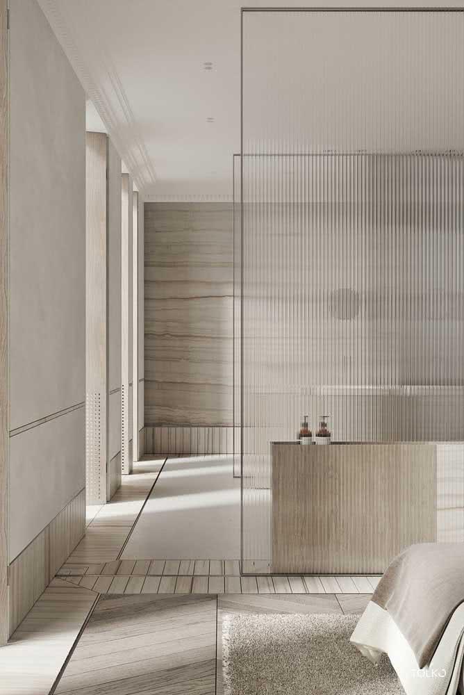 Divisória de vidro canelado para o quarto: elegante e clássico