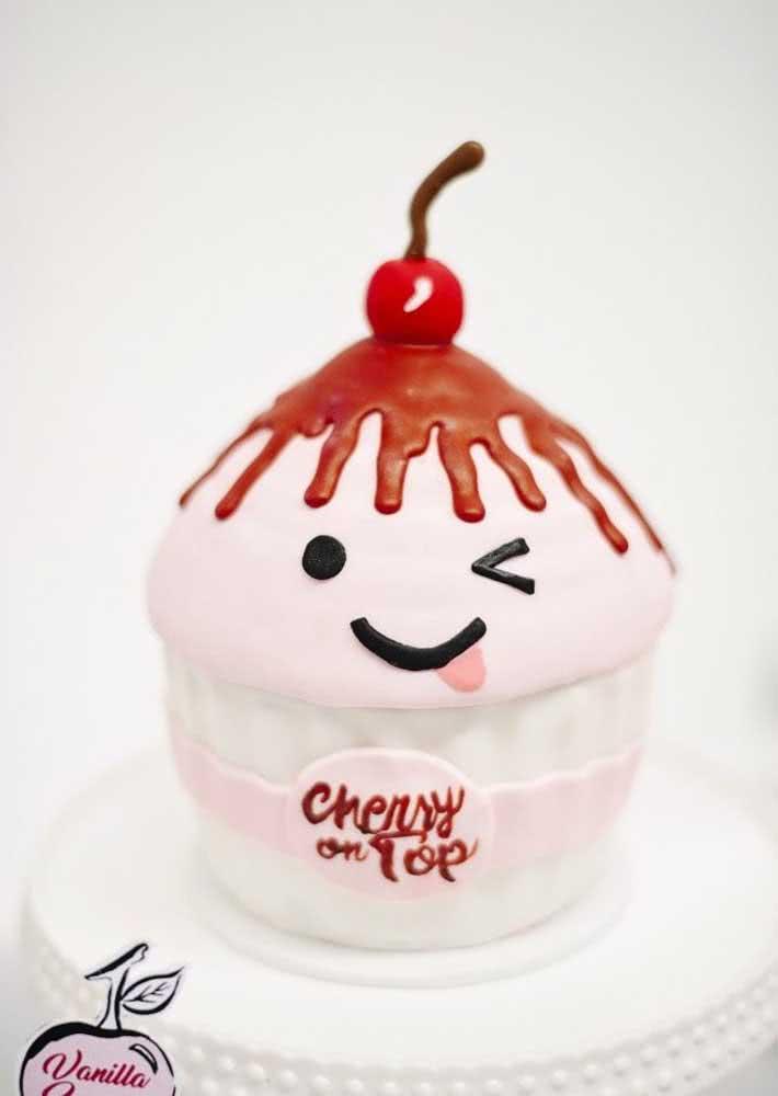 Cupcake em tamanho grande com uma linda cereja no topo para decorar