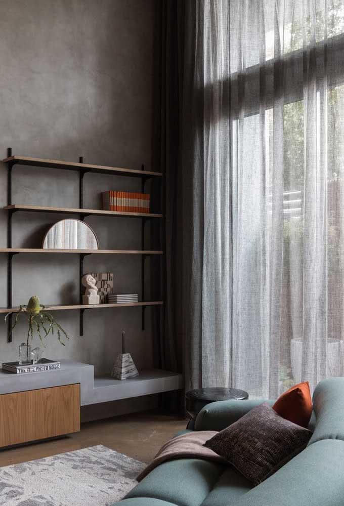 Revestimento cinza para ficar dentro da paleta de cores da sala